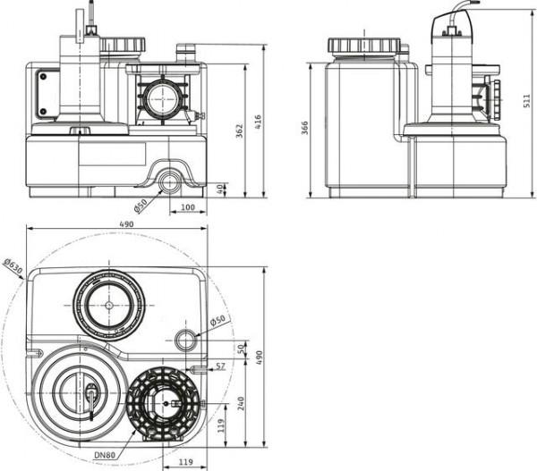 Wilo Abwasser-Hebeanlage DRAINLIFT SANI-S.11T/1, 400V, S3, MS-L, CEE16
