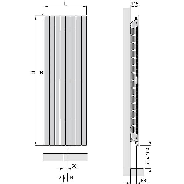 Zehnder Nova Neo, Niedertemperatur-Heizkörper, vertikal