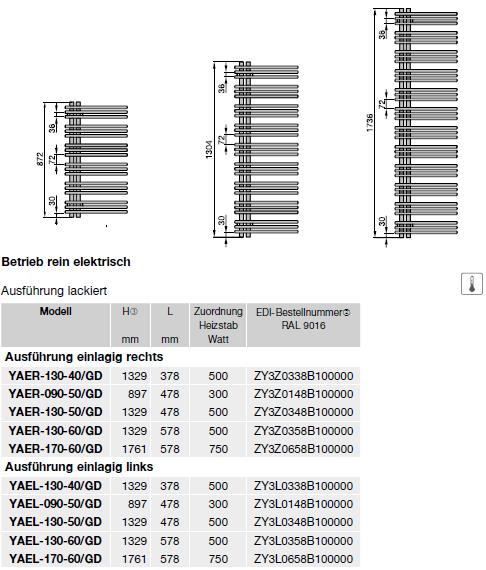 Modellübersicht und technische Daten Zehnder Yucca Asym, Badheizkörper, Elektrobetrieb, einlagig