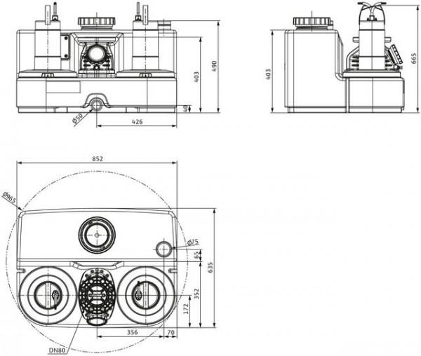 Wilo Abwasser-Hebeanlage DRAINLIFT SANI-L.12M/1, 230V, S3, MS-L, Schuko