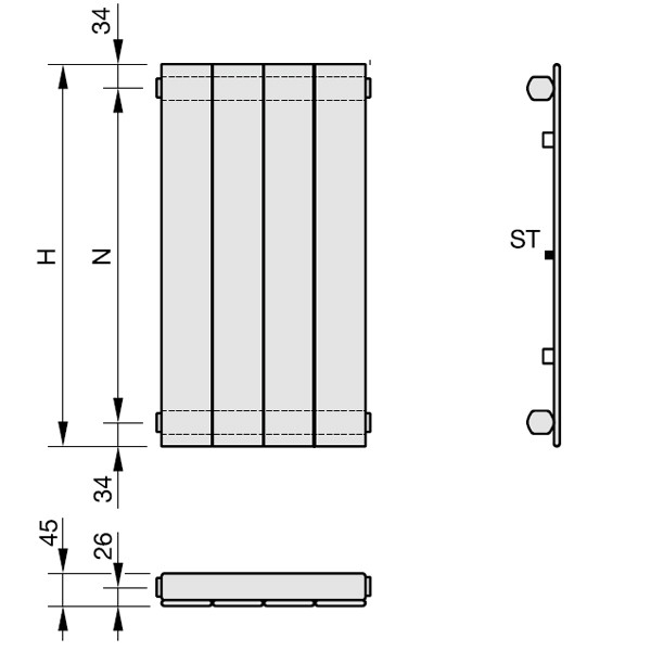 Zehnder Nova, Heizwand Typ NV, vertikal