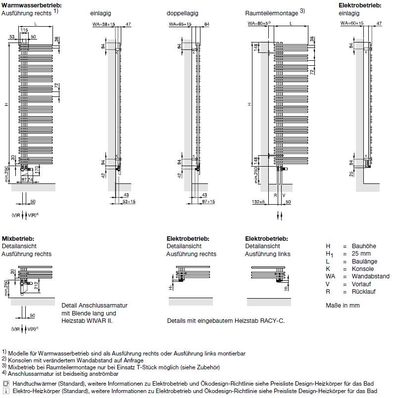 Maße und Anschluß Zehnder Yucca Asym, Badheizkörper, Warmwasserbetrieb, doppellagig