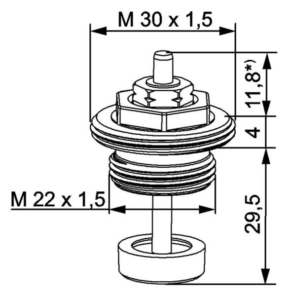HEIMEIER Thermostat-Oberteil für VHK Bauschutzkappe, M 22 x 1,5, schwarz