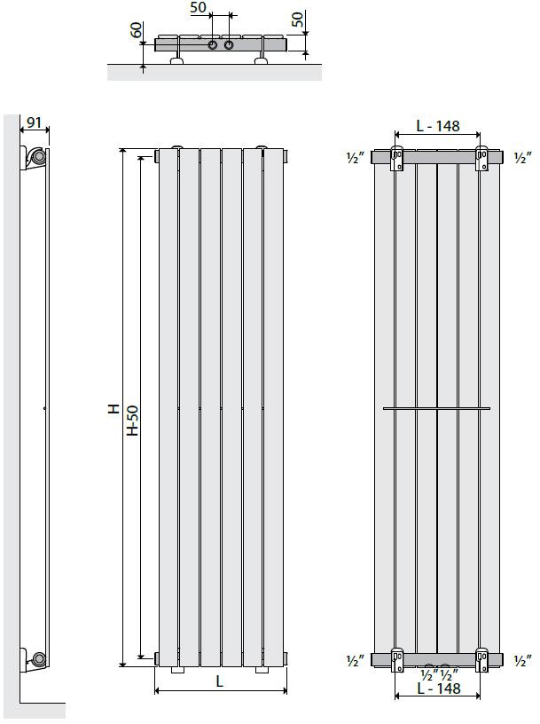 Henrad Verona Vertical Vertikalheizkörper Montagemaße